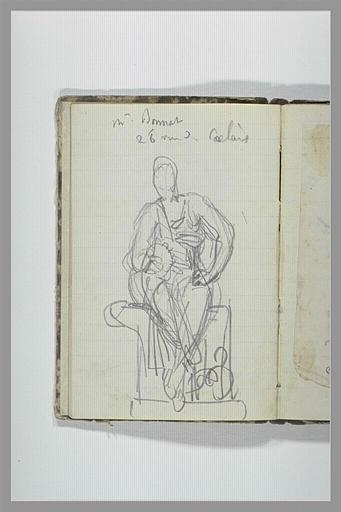 CHAPU Henri Michel Antoine : Une figure drapée, assise sur un socle