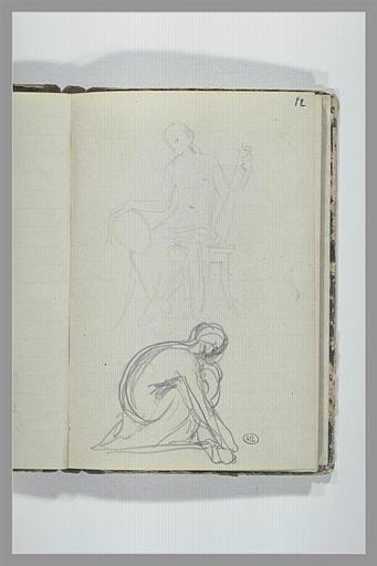 Figure assise tenant deux objets ; figure accroupie, de profil