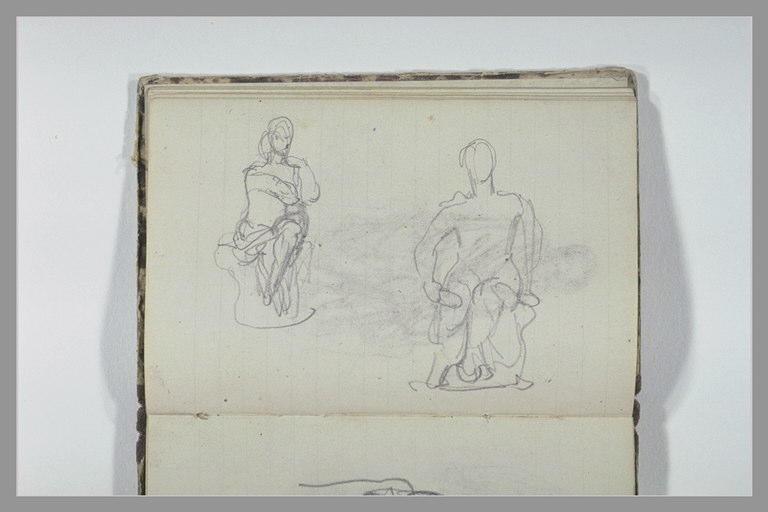 CHAPU Henri Michel Antoine : Deux études d'une figure assise