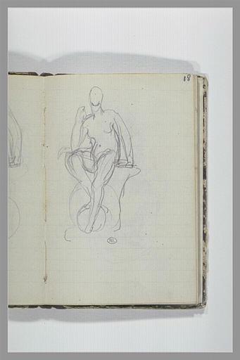 CHAPU Henri Michel Antoine : Une figure nue assise