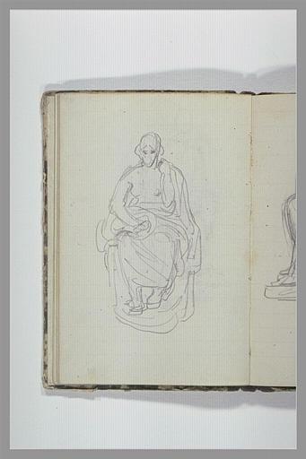 CHAPU Henri Michel Antoine : Une femme, assise, à demi drapée