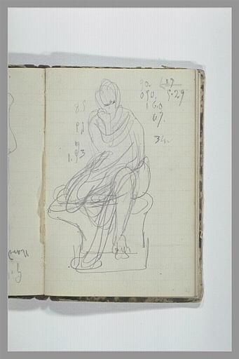 CHAPU Henri Michel Antoine : Une figure drapée, assise sur un socle, annotations chiffrées