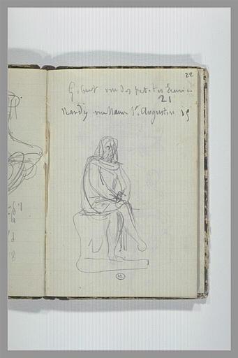 Note manuscrite ; figure assise sur un socle_0