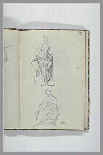CHAPU Henri Michel Antoine : Femme drapée assise, vue de face, femme drapée assise, vue de profil