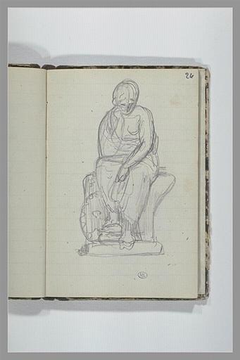 CHAPU Henri Michel Antoine : Une figure drapée, assise sur un socle, vue de face