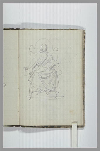 CHAPU Henri Michel Antoine : Une figure drapée assise, vue de face
