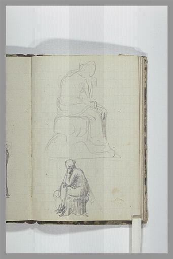 Deux études d'une figure assise sur un socle