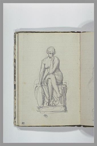 CHAPU Henri Michel Antoine : Une femme nue assise sur un socle