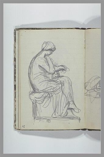CHAPU Henri Michel Antoine : Une femme drapée, assise sur un socle, vue de profil
