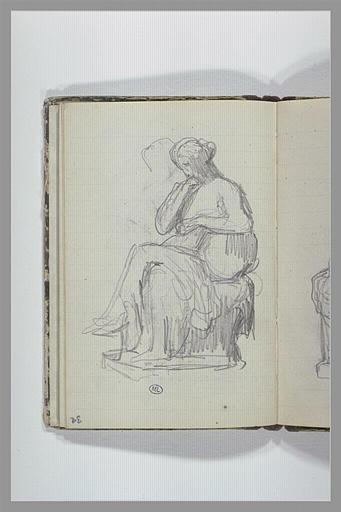 Une femme, à demi drapée, assise sur un socle, vue de trois quarts_0