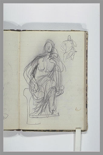 CHAPU Henri Michel Antoine : Une femme, à demi drapée, assise sur un socle, vue de face, reprise