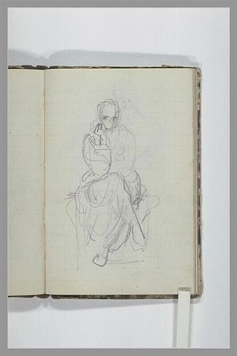 CHAPU Henri Michel Antoine : Une femme à demi drapée, assise sur un socle, vue de face