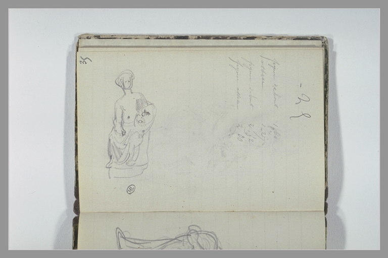 CHAPU Henri Michel Antoine : Figure assise, notes manuscrites