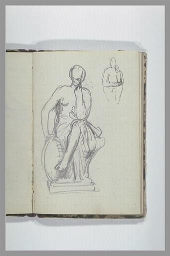 Une figure, à demi drapée assise ; croquis d'une figure assise_0