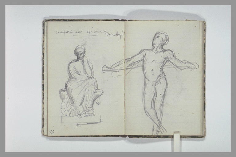 Bras ; note manuscrite ; figure assise sur un socle
