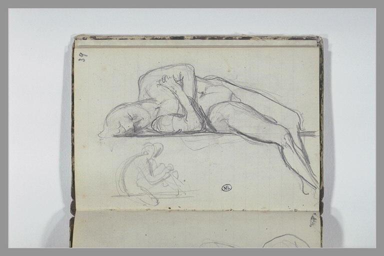 Homme nu allongé, les jambes pendantes ; figure, de profil