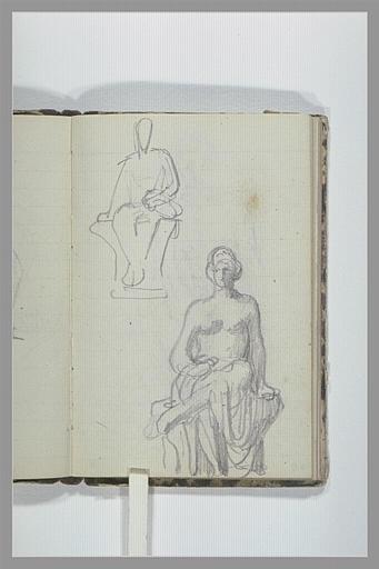 Croquis d'une figure assise ; femme, assise, à demi drapée