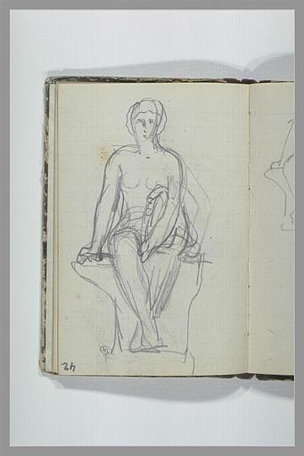 Femme nue assise sur un socle