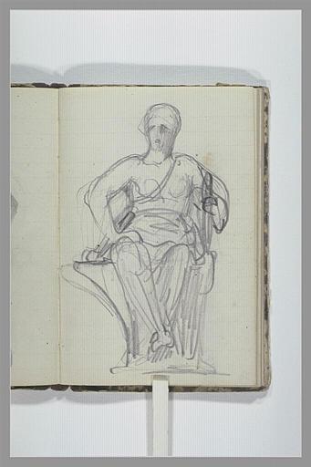 CHAPU Henri Michel Antoine : Une femme drapée assise sur un socle