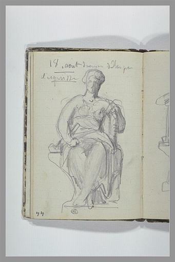 CHAPU Henri Michel Antoine : Note manuscrite, femme assise sur un socle