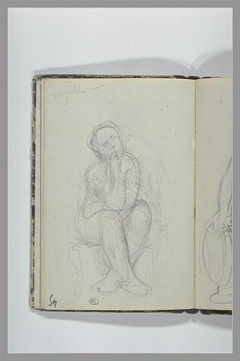 CHAPU Henri Michel Antoine : Une figure assise, jambes croisées