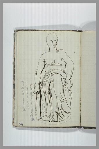 Femme, à demi drapée, assise sur un socle ; note manuscrite_0