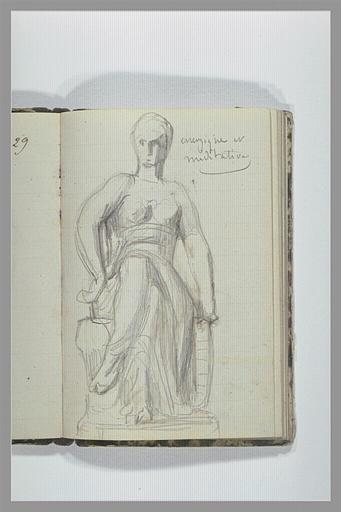CHAPU Henri Michel Antoine : Femme nue drapée assise
