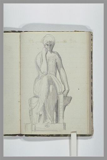 Une femme, à demi drapée, assise, jambes croisées