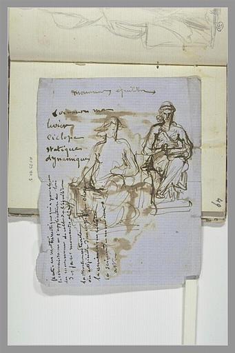 CHAPU Henri Michel Antoine : Notes manuscrites, deux études de figures assises