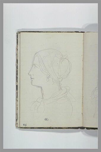 CHAPU Henri Michel Antoine : Femme, en buste, de profil vers la gauche