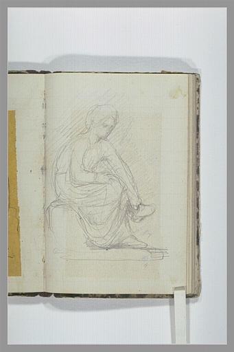 CHAPU Henri Michel Antoine : Femme assise, jambes croisées, touchant son pied droit