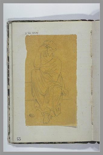 Femme drapée assise, la main droite posée sur son front