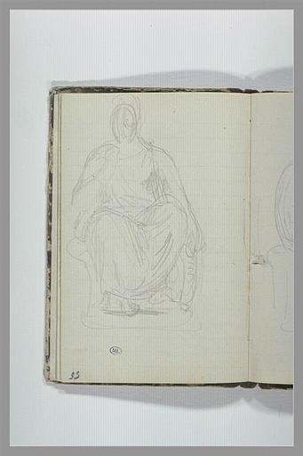 CHAPU Henri Michel Antoine : Une figure drapée, assise, vue de face