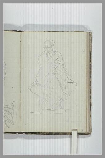 Une figure drapée, assise, jambes croisées