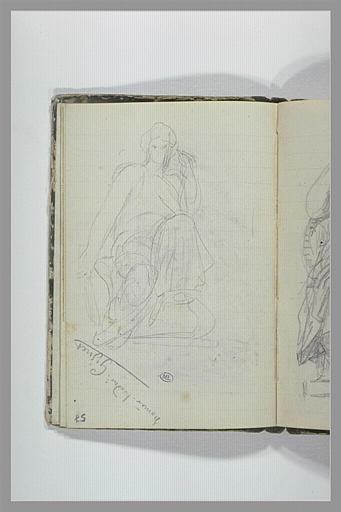 Une femme drapée assise ; note manuscrite