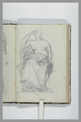 Une femme, à demi drapée, assise