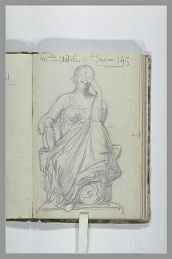 CHAPU Henri Michel Antoine : Une femme drapée, assise, la main gauche posée sur son front