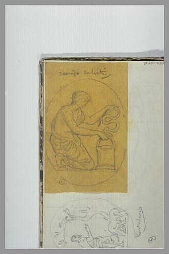 CHAPU Henri Michel Antoine : Femme mettant un serpent dans un récipient