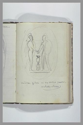 CHAPU Henri Michel Antoine : Deux guerriers se serrant la main, note manuscrite