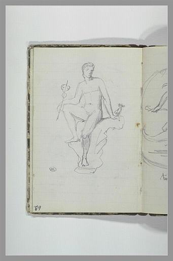 Homme assis tenant un caducée ; Mercure (?)