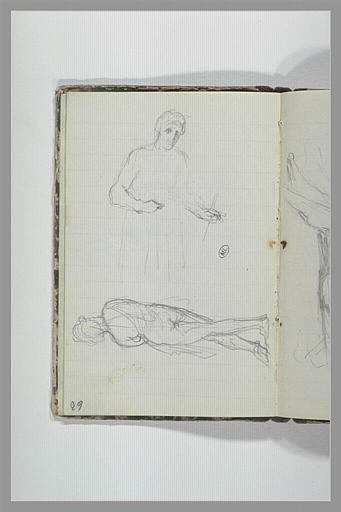CHAPU Henri Michel Antoine : Figure debout, figure nue, debout, de dos