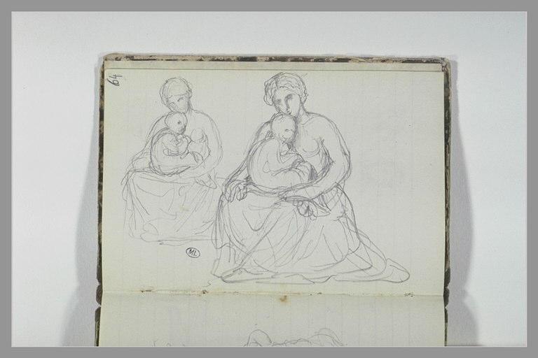 Deux études d'une femme assise tenant un enfant dans ses bras_0