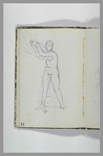 Une femme nue, debout, tenant une draperie_0