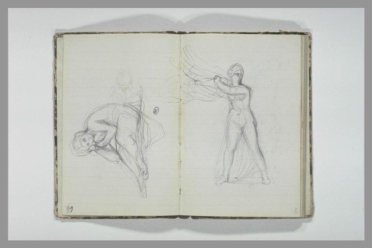 CHAPU Henri Michel Antoine : Une femme nue, debout, tenant une draperie