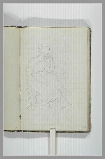 CHAPU Henri Michel Antoine : Une femme drapée, assise, tournée vers la droite