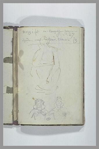 CHAPU Henri Michel Antoine : Note manuscrite, croquis d'une figure assise, deux figures, en buste