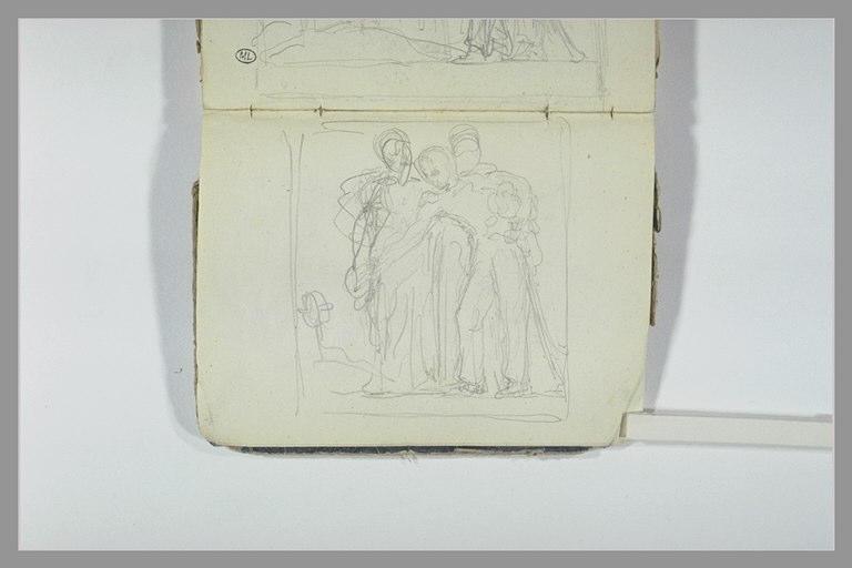 Trois soldats déposant une couronne sur une tombe