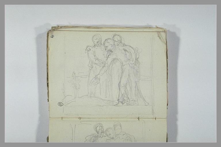 CHAPU Henri Michel Antoine : Trois soldats déposant une couronne sur une tombe