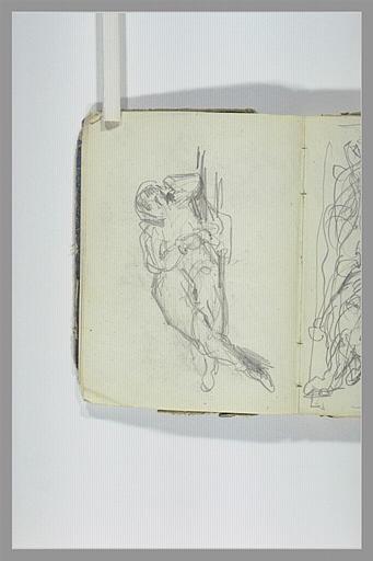 CHAPU Henri Michel Antoine : Un personnage allongé, les jambes croisées