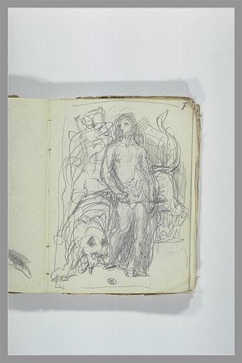 CHAPU Henri Michel Antoine : Croquis d'un personnage près d'un lion